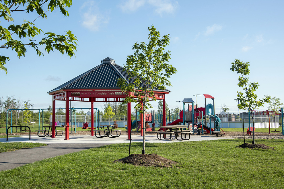 Gazebo and play structure at Don Boudria Park in Avalon, Orléans