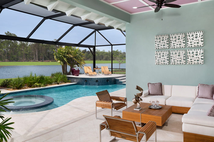 Outdoor living area with luxury pool - 3 bedroom single-family home (Copperlily shown)
