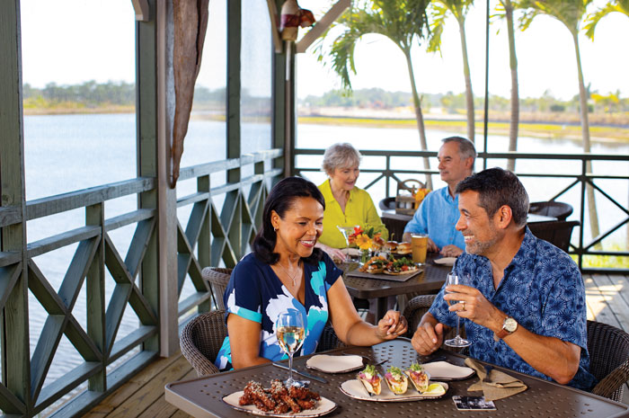 The Overlook Bar & Grill offers dining on the Cypress Waterway
