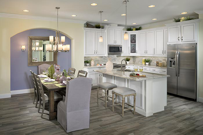 Open kitchen and dining making it easy to entertain (Buttonwood Shown)
