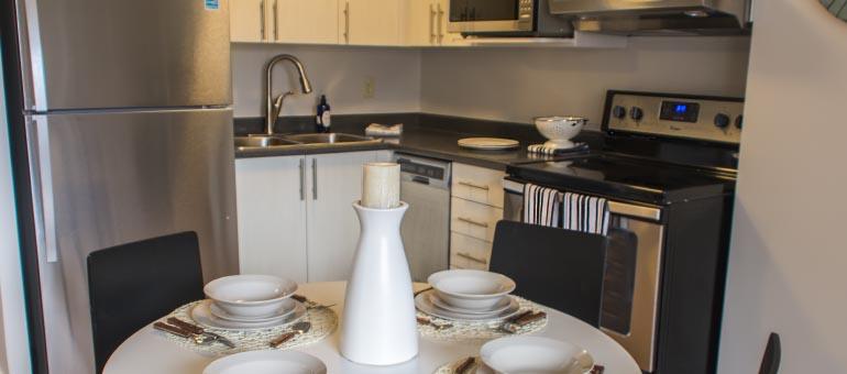 Kitchen area at the Navaho Apartments