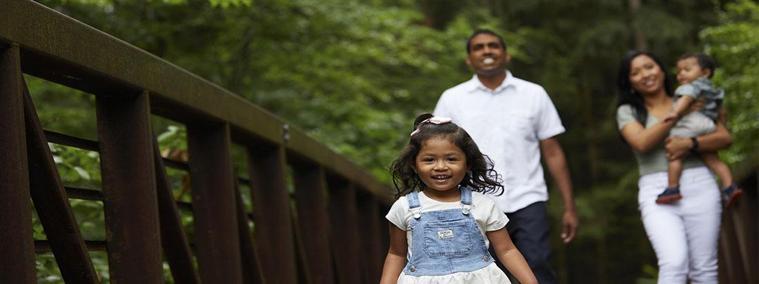 Family walking outside in Harmony Barrhaven