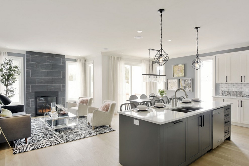 Butternut - Single Family Home - Living room, kitchen, and dining room
