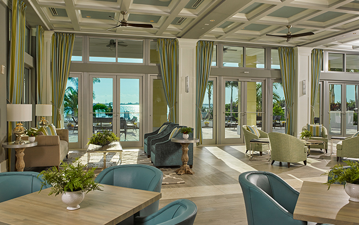 The private clubhouse is furnished for relaxing and gathering with neighbors