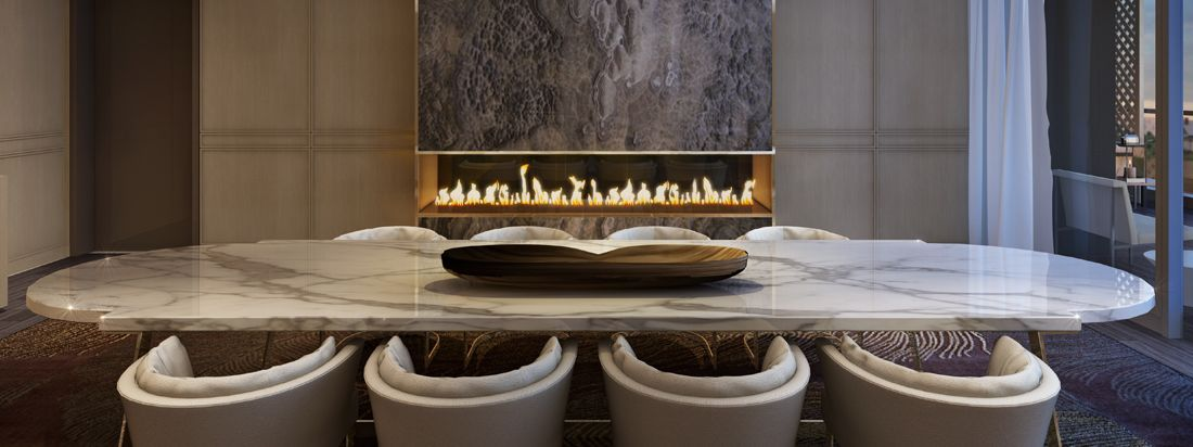 Party rooms with space and fireplaces, available at Minto Yorkville Park
