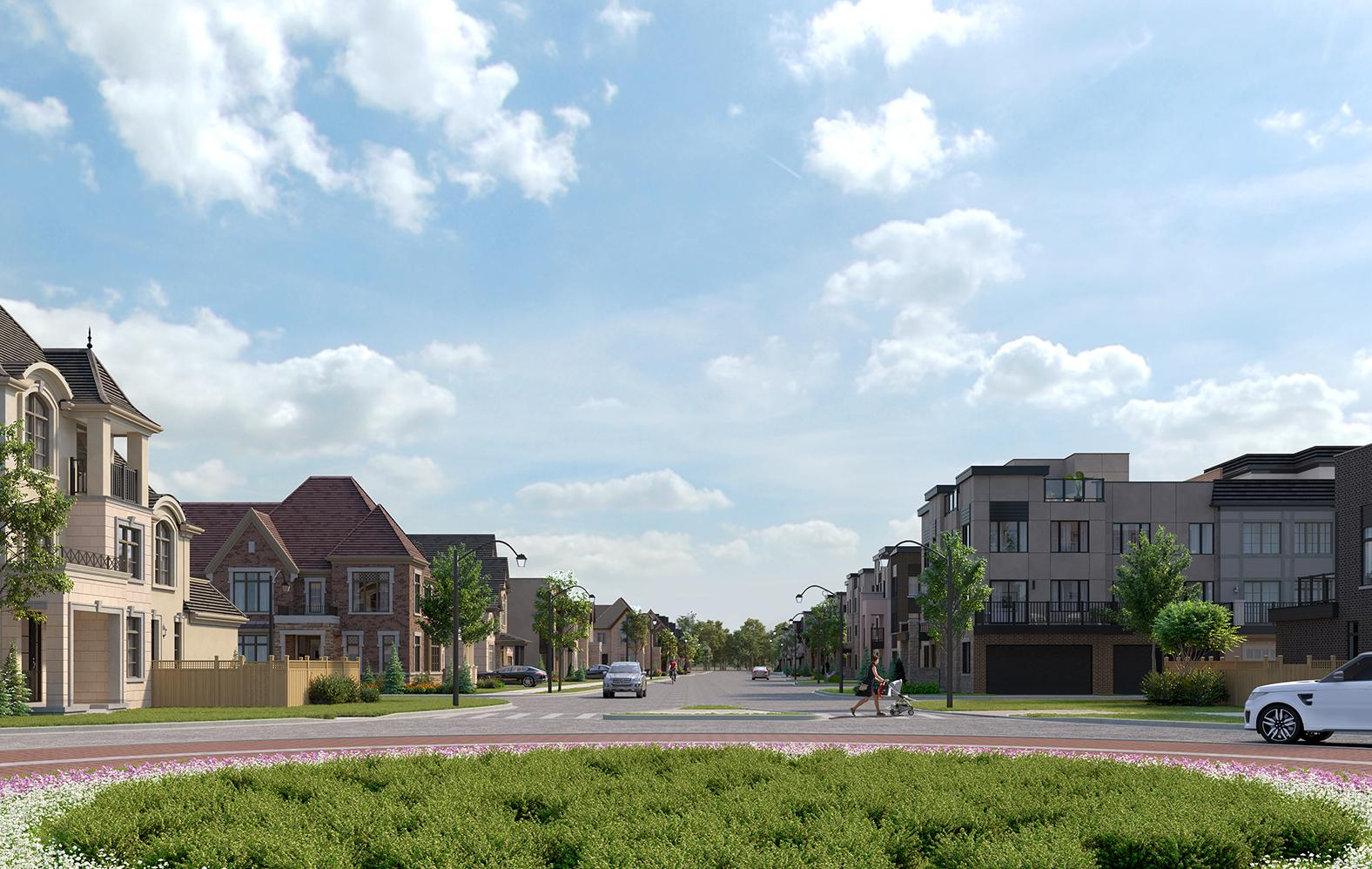 View of roundabout in the Union Village community. Master-planned community by Minto Communities & Metropia.